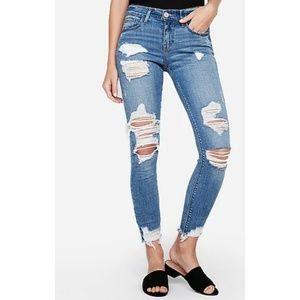 Express Mid Rise Medium Wash Ripped Ankle Jeans